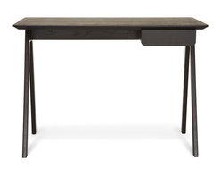 Blu Dot - Blu Dot Stash Desk, Graphite on Ash - Radius edges and wood couple in this elemental desk.  Pencil drawer keeps it tidy and can be assembled to either the left or right side.  Available in graphite-on-ash, walnut / grey or white ash.Walnut or stained ash veneer top, Painted or stained solid ash legs
