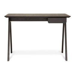"Blu Dot - ""Blu Dot Stash Desk, Graphite on Ash"" - ""Radius edges and wood couple in this elemental desk.  Pencil drawer keeps it tidy and can be assembled to either the left or right side.  Available in graphite-on-ash, walnut / grey or white ash."""