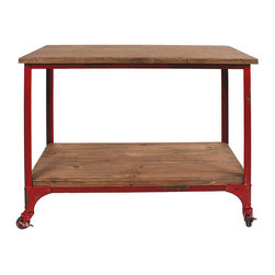 Antiqued Red Industrial Table - Punch up your room with a table worth looking at. Impeccable industrial styling shows in this table's rustic-toned surface and shelf, and the contrasting red metal frame. Small casters and unique distressing put the finishing touches on a sturdy piece of furniture.