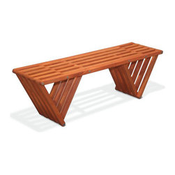 Equilateral Bench - Smart, rustic design went into making this an unforgettable bench. Don't worry, even if your guests play seesaw on it, no one will fall off.