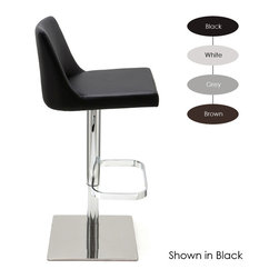Nuevo Living - Rome Adjustable Stool, Set of 2, White - Looking for a stylish set of stools with a solid foundation? Raise a glass to this Naugahyde and chromed steel stool. The ultracozy seat and solid footrests take care of comfort levels while a handy hydraulic control handle puts you at the right level for your kitchen counter or bar.