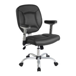 RTA Products - Techni Mobili Deluxe Task Chair - Black - The Techni Mobili Deluxe Task Chair features Techniflex upholstery, a premium synthetic leather, height-adjustable padded armrests with a 2 inch range, and a heavy-duty 5-point powder-coated steel base with non-marking nylon wheels. The pneumatic seat height adjustment lever provides a 3 inch seat height range and also a lock for the chair tilt feature which can be adjusted with the tension control knob.