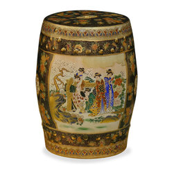 China Furniture and Arts - Satsuma Design Porcelain Garden Stool - Elaborately enameled, gilded, and hand painted in golden Satsuma style with Japanese courtyard scenery, the traditional garden stool is transformed into a work of art. With elegant silhouette and graceful design, it is perfect as a garden stool as well as an end table to display a sculpture or plant. Imported.