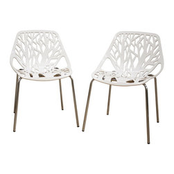 Birch Sapling White Plastic Accent / Dining Chair (Set of 2) - This chair lends a modern touch ofeethe beauty of a white birch tr  to your home.  The intricate cut-out design is ideal around a minimalistic dining table or simply as a standalone chair in an entryway or extra room.  It is constructed with a sturdy molded plastic seat atop a steel frame with a shiny silver chrome finish.  Black non-marking feet finish offeethe chair.  This chair is stackable, and assembly is required.