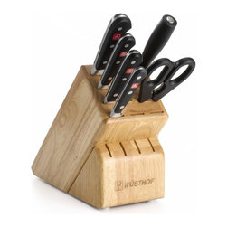 Wusthof - Wusthof Classic 7-Piece Cutlery Set with Storage Block - Wusthof Classic is triple-riveted and forged from one piece of specially tempered high-carbon stainless steel to ensure outstanding strength and extraordinary sharpness which is easy to maintain. For professional chefs and home cooking enthusiasts alike. Set Includes: 3.5-in. Paring Knife, 6-in. Utility Knife 8-in. Bread Knife, 8-in. Chef's Knife, 9-in. Sharpening Steel, Kitchen Shears and 13-slot Knife Block. Style# 7417.