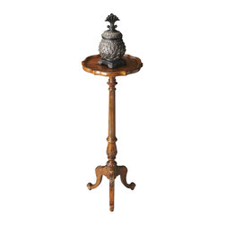 Butler Specialty - Butler Pedestal Plant Stand - This stately plant stand features an immaculately turned and carved pedestal and stylish cabriole legs. It is handcrafted from select hardwood solids and wood products with a matched oak veneers top in a distressed vintage oak finish.