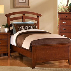 Vaughan Bassett - 3 Pc Twin Size Arched Panel Bedroom Set in Ch - Includes twin size panel bed, nightstand and chest. Cherry finish. Assembly required. Twin size panel bed:. Includes arched headboard, platform footboard and wood rails. Arched headboard: 45 in. L x 2.5 in. W x 52 in. H. Platform footboard: 42 in. L x 2.5 in. W x 21 in. H. Wood rails: 74 in. L x 6 in. W x 1 in. H. Nightstand:. 2 Drawers. 26 in. W x 16 in. D x 29 in. H. Chest:. 5 Drawers. 38 in. W x 18 in. D x 51 in. H. Under bed storage box: 52 in. L x 19 in. W x 7.5 in. H (optional)