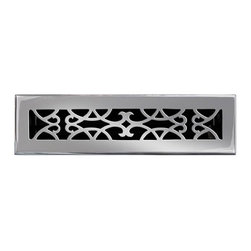 """Brass Elegans 120B PWT Brass Decorative Floor Register Vent Cover - Victorian Sc - This pewter finish solid brass floor register heat vent cover with a victorian scroll design fits 2 1/4"""" x 12"""" x 2"""" duct openings and adds the perfect accent to your home decor."""
