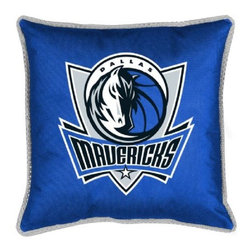 Sports Coverage - Sports Coverage NBA Dallas Mavericks Sideline Toss Pillow - Make that new officially licensed NBA Dallas Mavericks Sidelines Toss Pillow look as good as it feels. A must have for any true fan. A New Design - Same great quality!! Coordinating Toss pillow to match jersey material logo Comforter. Each Pillow is made from 100% polyester jersey material (just like the athlete's wear). Pillow has large team logo in the center of the pillow, as well as a strip of mesh trim around it.   Features:  - Toss Pillow is 17 x 17,   - Poly/Cotton bottom side,   - 100% Polyester Cover and Fill,   - Sidelines is trimmed in teams secondary color,   - 100% Polyester Jersey,   -  Spot Clean only ,