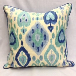 """Pillows - Custom 20"""" x 20""""  accent pillow with Alvarado- Turquoise, with blue contrast welt and backing. Price group Blue. White goose 25/75 filling."""