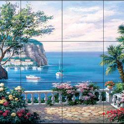 The Tile Mural Store (USA) - Tile Mural - Sk - Coasta Del Sol - Kitchen Backsplash Ideas - This beautiful artwork by Sung Kim has been digitally reproduced for tiles and depicts a patio overlooking the ocean.  Waterview tile murals are great as part of your kitchen backsplash tile project or your tub and shower surround bathroom tile project. Water view images on tiles such as tiles with beach scenes and Mediterranean scenes on tiles Tuscan tile scenes add a unique element to your tiling project and are a great kitchen backsplash idea. Use one or two of our landscape tile murals for a wall tile project in any room in your home for your wall tile project.