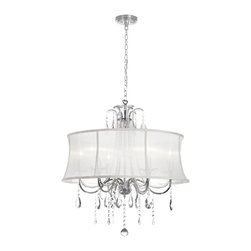Dainolite - Dainolite 615-270C-PC-119 6 Light Crystal Chandelier Pc Finish - Dainolite 615-270C-PC-119 6 Light Crystal Chandelier PC Finish White Organza Bell Shade