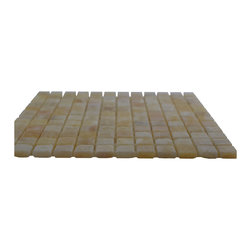 Honey Tumbled Square Pattern Mesh-Mounted Onyx Tiles - .6 in. x .6 in. Honey Mesh-Mounted Square Pattern Onyx Mosaic Tile is a great way to enhance your decor with a traditional aesthetic touch. This tumbled mosaic tile is constructed from durable, impervious onyx material, comes in a smooth, unglazed finish and is suitable for installation on floors, walls and countertops in commercial and residential spaces such as bathrooms and kitchens.