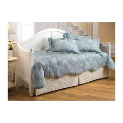 Hillsdale Furniture - Augusta Country Style Solid Panel Daybed w Su - A white finish adds country charm to traditional daybeds. These are styled with beadboard paneling and arched tops accented with round finials. Pair with any colors to reflect the character of a room. Optional trundle is a pop-up to double the size. * Included: Daybed side and back panel, and suspension deck. Bead board design. Arched Silhouette . Elegantly sloped arms. Posts topped with a classic round finial. Mattress not included. 46 in. H x 81.5 in L x 33.25 in D