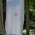 Shower Curtains - This is our Josie style shower curtain made in cotton.  We also offer it in our linen fabrics.  It has a center box which is great for monogramming.  It is 74x96 and can be custom made for any length or size shower.