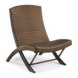 Frontgate - Frontgate Balencia Folding Chair - Sublimely contoured to support the body. Handcrafted of weather-defying wicker fiber. Ultra-strong aluminum frame. Folds flat for easy storage and transport. The artfully woven Balencia Bronze Folding Chair transforms the curved comfort of the Balencia chaise into an easy to transport and store design. Designed by noted French designer Claude Robin, the chair's supple all-weather fibers won't stick to skin like vinyl or plastics. . . . .