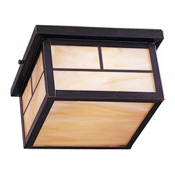 Maxim Lighting - Maxim Coldwater EE 2-Light Outdoor Ceiling Mount Burnished - 85059HOBU - Coldwater EE is a traditional, craftsman/mission style, energy saving collection from Maxim Lighting Interior in two finishes, Acid Verde or Burnished with Honey glass.