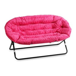 Idea Nuova Inc. - Idea Nova Double Saucer Chair in Pink Zebra - Cozy up instantly. This Double Saucer chair is perfect for relaxing with the newspaper, hanging out with friends, studying, and/or playing video games. A versatile design with sumptuous fabric, a sturdy metal frame and extra cushioning for support.