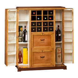 Nancelle collection - Bar Cabinet. One bottle rack. One door. two side compartments.