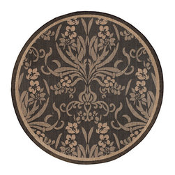 COURISTAN INC - Recife Garden Cottage Black/ Cocoa Rug (8'6 Round) - This rug is designed to make entryways and patio decks warmer and more inviting. This Couristan Recife rug is power-loomed of fiber-enhanced Courtron polypropylene and is all-weather,pet-friendly,mold and mildew resistant.