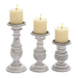 Benzara - Short and Sweet Wooden Candle Holder Set of Three in White Paint Finish - Short and Sweet wooden candle holder set of three in white paint finish. Some assembly may be required.