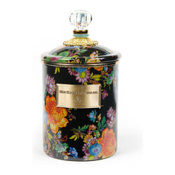 Flower Market Medium Enamel Canister - Black   MacKenzie-Childs - Flour, sugar, and coffee might seem the most obvious of contents with which to fill a set of three Flower Market Canisters, but the possibilities are endless! Keep them in the kitchen with coffee beans and tea bags, cookies and candies, dog biscuits or birdseed, or invent new uses around the house. Perfect for cotton balls and swabs in the bathroom, pens and pencils in the office, or knick-knacks and doodads in the kids room. Color glazed in black, blue, green or white, each Flower Market Enamel Canister is decorated with hand-applied fanciful botanical transfers that recall a lush English garden in the peak of summer. These canisters stand handsomely alone or harmonize delightfully in a multicolor set.