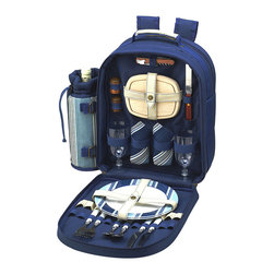 Picnic at Ascot - Aegean Blue Two-Person Backpack Cooler Set - Soak up the sun with this fully stocked picnic set. The lightweight backpack is packed with fine-dining essentials and flatware, plates and napkins for two. Ergonomic straps, an insulated cooler compartment and a detachable wine holder ensure easy, edible adventures.   Includes backpack, combination corkscrew, cutting board, salt and pepper shakers, two wine glasses, two plates, two sets of flatware, and two napkins 15.5'' W x 16'' H x 6.5'' D Cooler: 600-denier polyester canvas / cotton Cutting board and shakers: wood Plates: melamine Glasses: acrylic Flatware: stainless steel Napkins: cotton Cooler: spot clean Plates, glasses and flatware: dishwasher-safe Cutting board and shakers: hand wash Napkins: machine wash Imported   Assembled in the USA