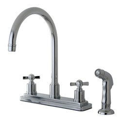 """Kingston Brass - Kingston Brass Millennium Polished Chrome 8"""" Centerset Kitchen Faucet KS8791ZX - This two handle kitchen faucet with its cylindrical base and  gooseneck spout  will work well with most contemporary d_cors, includes side spray, manufactured from solid brass this faucet features ceramic cartridge for long lasting performance.. Manufacturer: Kingston Brass. Model: KS8791ZX. UPC: 663370284250. Product Name: Kingston Brass Millennium 8"""" Centerset Kitchen Faucet, Polished Chrome. Collection / Series: Millennium. Finish: Polished Chrome. Theme: Modern. Material: Brass. Type: Kitchen Faucet. Features: Max 2.2GPM/8.3LPM At 60 PSI"""