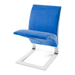 Zuri Furniture - Blue Microfiber Bouncy Dining Chair - The name says it all. The whimsical Bouncy chairs uniform construction allows it to bounce up and down as you sit in it. Destined to become a conversation piece in any room, the The Bouncy contemporary chair is ideal for residential or commercial use. Features one piece chrome plated steel base, 300 lb. weight capacity, and suede microfiber available in multiple color choices.