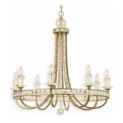 Kathy Kuo Home - Aris Soft Gold Crystal Hollywood Regency 8 Light Chandelier - Celebrate your inner Trump and showcase this impressive soft gold chandelier over your dining table, stairway or bed. The crystal and glass accents dazzle when lit, leading people to wonder how much more you're making at that new job of yours.