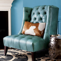 """Old Hickory Tannery - Old Hickory Tannery Tufted Chair & Pillow - Exclusively ours. Crafted in the USA by Old Hickory Tannery, this tufted turquoise leather chair has a maple frame with a """"coffee bean"""" finish. Brown and white hairhide pillow included; hairhide patterns may vary. 31""""W x 29.5""""D x 43.5""""T overall. Seat...."""