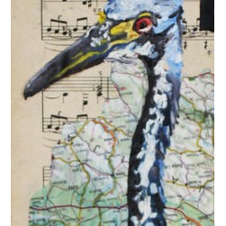"""Birdie"" Artwork - Mixed media on canvas. Includes items such as collaged sheet music, acrylic paint, and maps."