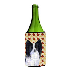 Caroline's Treasures - Papillon Fall Leaves Portrait Wine Bottle Koozie Hugger SS4351LITERK - Papillon Fall Leaves Portrait Wine Bottle Koozie Hugger SS4351LITERK Fits 750 ml. wine or other beverage bottles. Fits 24 oz. cans or pint bottles. Great collapsible koozie for large cans of beer, Energy Drinks or large Iced Tea beverages. Great to keep track of your beverage and add a bit of flair to a gathering. Wash the hugger in your washing machine. Design will not come off.