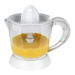 Kalorik - Kalorik Citrus Juicer - Serve up a fresh cup of orange juice for everyone at breakfast with the Kalorik Fruit Juicer. With a large 1qt juice container, everyone can enjoy freshly squeezed juices in the morning. But if you don't finish it all just store the rest in the fridge with the detachable pitcher and handy lid for dust protection. No need to scramble for that on/off switch with juicy hands, as this unit features a simple automatic shut off. Simply press your fruit down on the cone and the unit begins to juice, but once you lift up the unit will shut off automatically. And don't worry about waking those late sleepers as the noise level is less than 75dB. This units comes with 2 juicing cones, and features non-slip feet to avoid movement, as well as convenient cord storage in the base for compact storing.