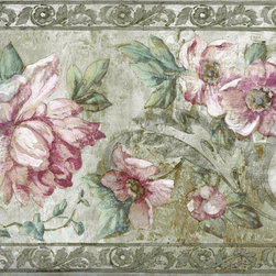 York Wallcoverings - Pink Roses Flower Floral Wallpaper Border - Wallpaper borders bring color, character and detail to a room with exciting new look for your walls - easier and quicker then ever.