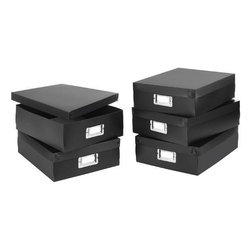Home Decorators Collection - Document Boxes - Set of 5 - These document boxes are a great way to keep your home office organized, and keep track of all of your most important documents. Built to last of high-quality materials, you can rest assured that these office accessories will last for years as a part of your home office. Order today. Stainless metal ID plate adds to the organizational potential. Crafted of durable synthetic materials for years of lasting use.