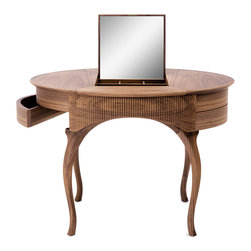 Ceccotti - Ceccotti Arabella Toilette Table - Smalltoilette vanity tablemade inAmerican cherry or American walnut. This vanity table has acentral flip-upmirror, internal wooden partitions, and swivel side drawers. This piece also has an option of an LED light for an upcharge. Price includes delivery to the USA. Manufactured by Ceccotti.