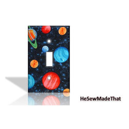 Planets in Outer Space Light Switch Cover by He Sew Made That - You've got to accessorize with some spaced-out switchplates!