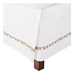 Kendell Twin XL Bed Skirt Cotton - White/Taupe - This bed skirt is part of the Kendell Collection. It features a greek-style colored design on white.
