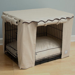 Frontgate - Crate Cover - Made of 100% cotton canvas. Velcro tabs. Arrives with canvas pouch for storage. Available in Small, Medium, Large. Coordinates with the matching Crate Bed. Our Crate Cover will transform any pet crate into an elegant doggy retreat. Designed with two contrasting panels that can be rolled open for easy access or rolled down for naptime, this cover is great for the modern home decor.  .  .  .  .  . Dry clean .
