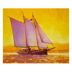 Steve Henderson Fine Art - Golden Sea Artwork -- Original Oil Painting - Original oil painting, 20 inches wide by 24 inches long. Deep gallery wrapped so that it is ready to hang without frame. This is the original oil painting of a licensed work.
