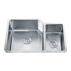 """Dowell - Dowell 30"""" x 20"""" Undermount Handcrafted Small-Radius Corner Double Bowl Sink - Grid & Strainer included"""