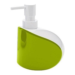 Gedy - Unique Free Standing Soap Dispenser, White/Green - A sensible option for a luxury or contemporary master bath, this free stand lotion soap dispenser is the perfect option to keep soap handy at all times.