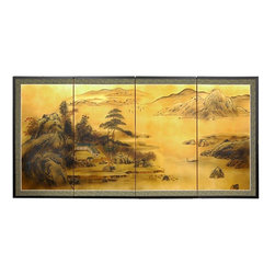 """Oriental Furniture - 36"""" Windows to the World on Gold Leaf - Evoke images of the Orient with this soft and beautiful, hand-painted gold leaf rendition of a lovely landscape view. Note that no two renderings are exactly the same. Subtle, beautiful hand painted wall art."""