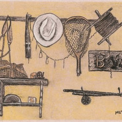 """Fishing Still Life"" (Original) By Marvin Tweedy - I Did America Game First And Wanted To Make A Set, So Fishing Was The Natural Second Drawing To Do.  They Look Great Together."