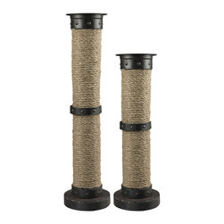 Sterling Industries - Sterling Industries 129-1036 Set Of 2 Large Natural Rope Wrapped Candle Holders - Candle Holder (2)