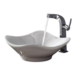 Kraus - Kraus White Tulip Ceramic Sink and Typhon Faucet - Add a touch of elegance to your bathroom with a ceramic sink combo from Kraus
