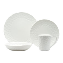 Red Vanilla - Red Vanilla Marble Round 16-Piece Dinner Set - This sixteen-piece dinner set features a simplistic style with a unique textured pattern. This set includes four dinner plates,salad plates,soup bowls and mugs.