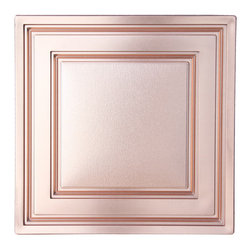"""Stratford Vinyl Ceiling Tile - Faux Copper - Perfect for both commercial and residential applications, these tiles are made from thick .03"""" vinyl plastic. Their lightweight yet durable construction make these tiles easy to install. Waterproof, these tiles are washable and won't stain due to humidity or mildew. A perfect choice for anyone wanting to add that designer touch at an amazing price."""