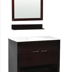 "Atlas International Inc - Bathroom Vanity - ""Auburn"" Single Sink - Our posh yet simple Auburn single sink bathroom vanity will transform your ordinary bathroom into a stylishly modern space saving bathroom. The counter top is made from high quality heat and scratch resistant Carrera natural marble. The Auburn will give you ample storage space and is designed to harmonize with any theme, perfect to add elegance and sophistication to any bathroom."